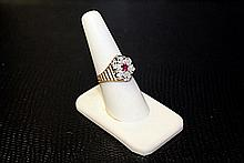 Lady's 10K Yellow Gold Lab RuBy/ Diamond Ring (36)