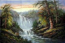 Original Oil on Canvas. Waterfalls by Dansford