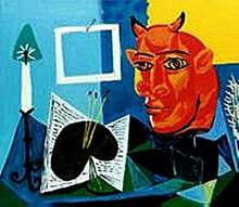 Still life with Candle, Palette and red head of Minotaur-Collection Domaine Picasso