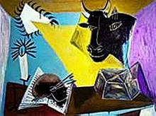 Still life with candle, Palette and black bull's head-Collection Domaine Picasso