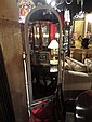 WOOD FLOOR MIRROR, WHITE FINISH, BRASS ACCENTS, TILTING MIRROR, APPROX 3'H