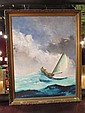 LARGE OIL PAINTING ON CANVAS, SAILBOAT IN A STORM, SIGNED THIES LOWER RIGHT, APPROX 40.5