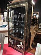 CHINOISERIE CABINET, BLACK LACQUER FINISH WITH JADE AND STONE CARVED APPLIQUE FIGURES, GLASS DOORS, 2 DOOR LOWER CABIENT, APPROX 6'H X 6'W X 18