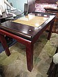 ASIAN MOTIF WOOD GAME TABLE, 3 TONES OF WOOD, APPROX 4'L X 3'W X 32