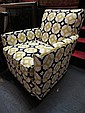 CONTEMPORARY ARMCHAIR, SAM MOORE FOR HOOKER FURNITURE, RETRO GEOMETRIC PRINT, NEW NEVER USED, SHOWROOM CONDITION