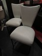 PAIR CONTEMPORARY WHITE LEATHERETTE CHAIRS, BLACK FINISH METAL BASES