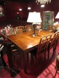 CENTURY FURNITURE ASIAN MOTIF DINING TABLE WITH 6 CHAIRS, CANE BACKS, BLACK UPHOLSTERED SEATS, EXCELLENT CONDITION