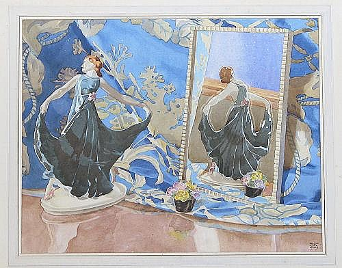 Hugh Adair Lynch, Art Deco Watercolour depicting
