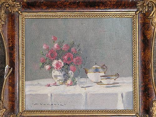 K. Vukovic, Small Oil on Board still life vase of