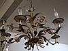 French vintage gilded & painted floral chandelier
