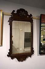 C19th George II style mah wall mirror