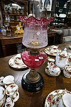 Vic ruby glass banquet kero lamp with original