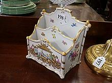 Dresden flower painted letter rack