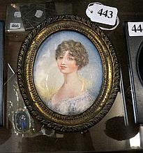 Miniature h/painted portrait of Lady in gilded
