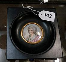 Ebony framed h/painted miniature of Lady, signed