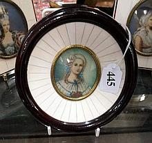 Unusual round miniature h/painted portrait of lady