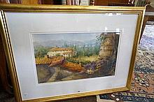 Watercolour, Tuscany grape harvest by A A Prout