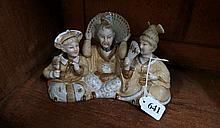 C19th bisque group of 3 nodding head oriental