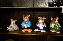 4 Wade National Westminster pig money boxes