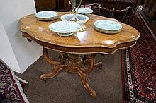 Victorian burr walnut shaped top table with