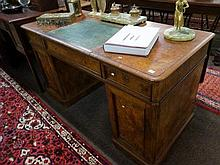 Vic burr walnut pedestal desk with central
