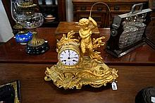 C19th French ormolu bronze figured mantle clock of