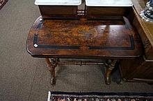 Victorian burr walnut inlaid stretcher base table