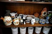 shelf of assorted china inc clock, hunting teapot