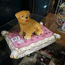 Porcelain dog figured trinket box