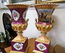 Pr early C19th h/painted & gilded 2 handled urns