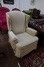 Large vintage wingback recliner chair
