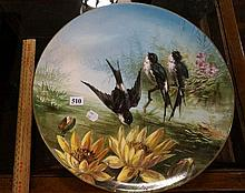 Large Vic h/painted charger of swallows by a pond