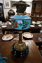 Vic blue glass painted banquet kero lamp base