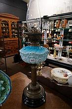 Vic blue glass banquet kero lamp
