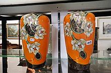 Pr unusual Vic orange floral vases