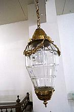 Brass & cut glassd hall light