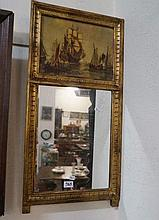 French mirror with warship &  boat scene panel
