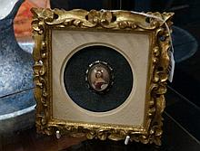 H/painted miniature of young woman in gilded frame