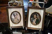 Pr antique ivory framed miniature h/painted