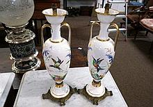 Pr C19th French h/painted lamp bases