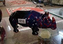 Unusual Royal Doulton flambe rhinoceros