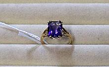 9ct amethyst large stone ring