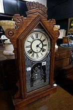 Vic walnut cottage clock with original etched