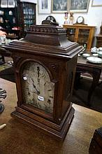 Antique carved oak German bracket clock