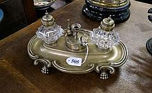 Antique German silver plated ink stand