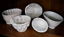 5 Vic ceramic jelly moulds