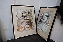 Early C20th Watercolour & pencil of Kookaburras