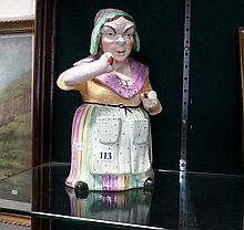 C19th Staffordshire Lady in bonnet lidded jar