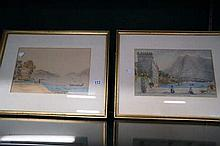 Pr early C19th watercolours of harbour scenes