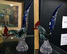 Pr Murano coloured glass pheasants